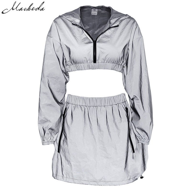 Macheda Reflective Two Piece Set Short Hooded Pullover Top And Skirt Set Gray 2 Piece Set Women Skirt Top Outfits Women