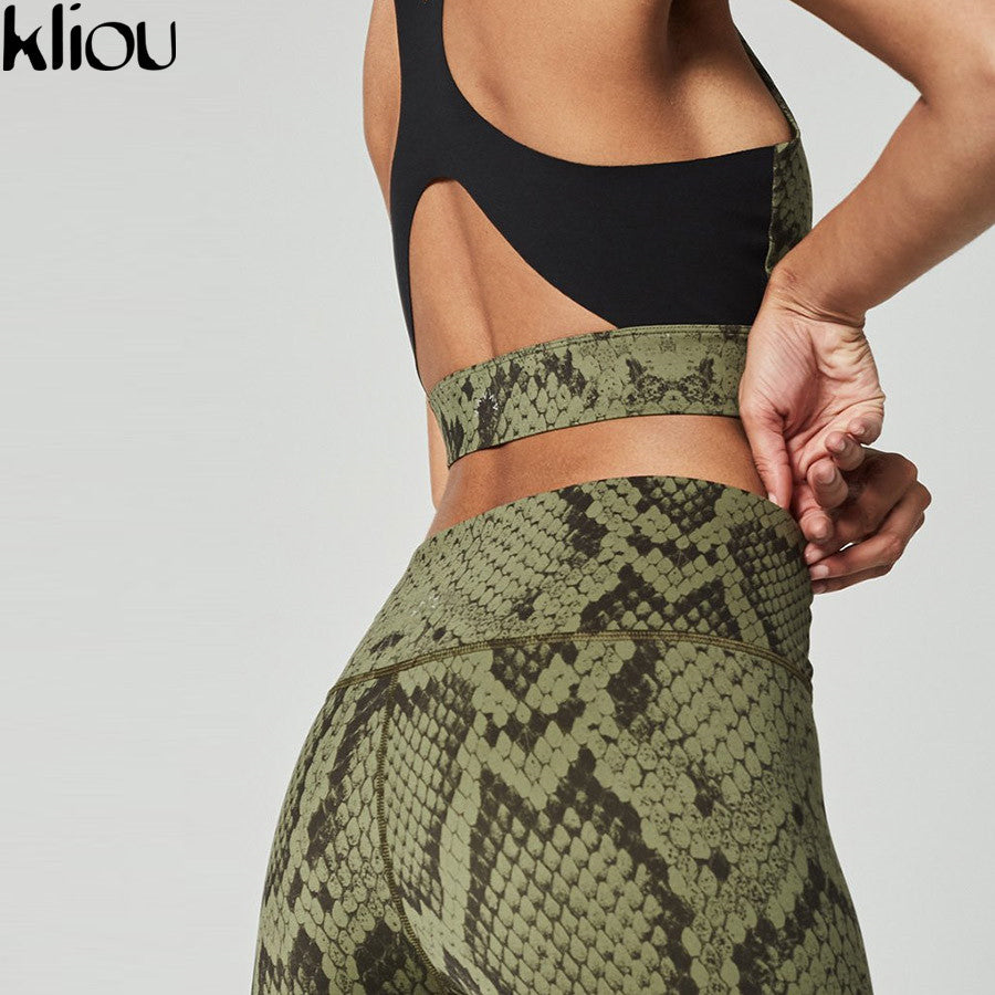 Kliou 2018 women Snake Skin Print 2 pieces sets back hollow out Active Wear top bra fitness leggings elastic waist tracksuits