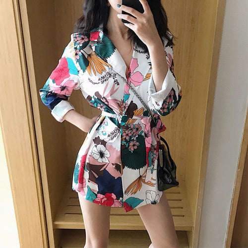 High Street Notched Collar print Women Blazer Single Breasted Autumn Jacket Casual Pockets Female Suits Kawaii Coat