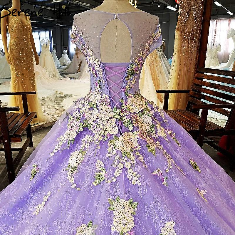 Purple High-end Lace Embroidery Flowers Wedding Dresses Fashion Luxury Sleeveless Bridal Gown-Dress-SheSimplyShops