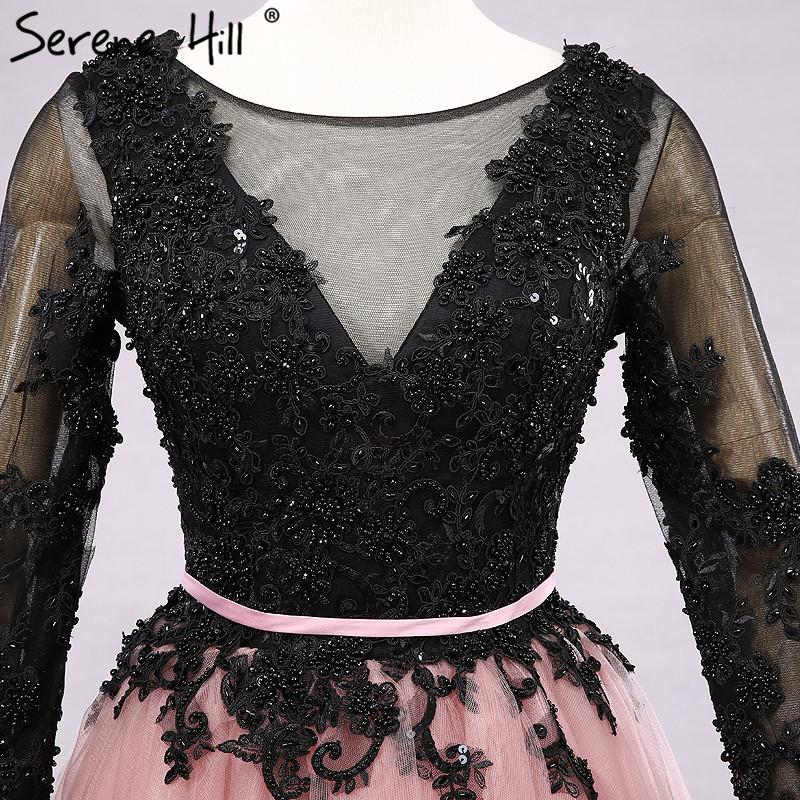 Lace Long Sleeves Evening Dresses Black With Pink Appliques Beading Sexy Evening Party Dress-Dress-SheSimplyShops
