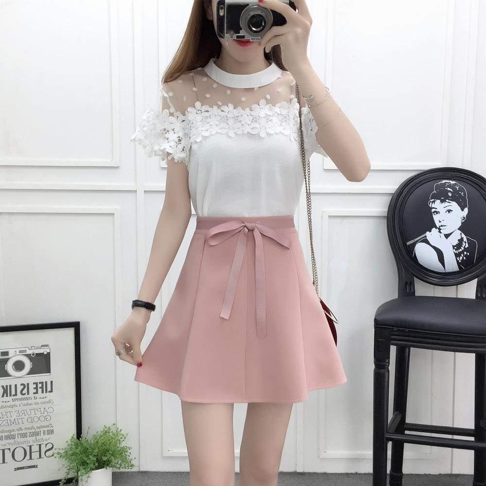 spring summer ladies' fashion suits gauze blouse Bow knot skirt girl vogue outfit 2 pcs clothing set sweet vestidos clothes