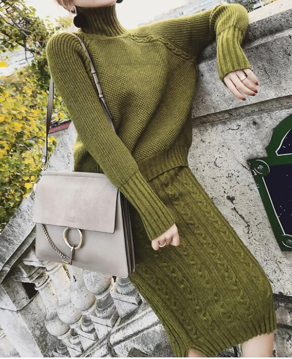 Women Twist Turtleneck Pullover Sweater and Split Bodycon Skirt Knitted 2 Piece Set Women Casual Female Solid Knitting Suits