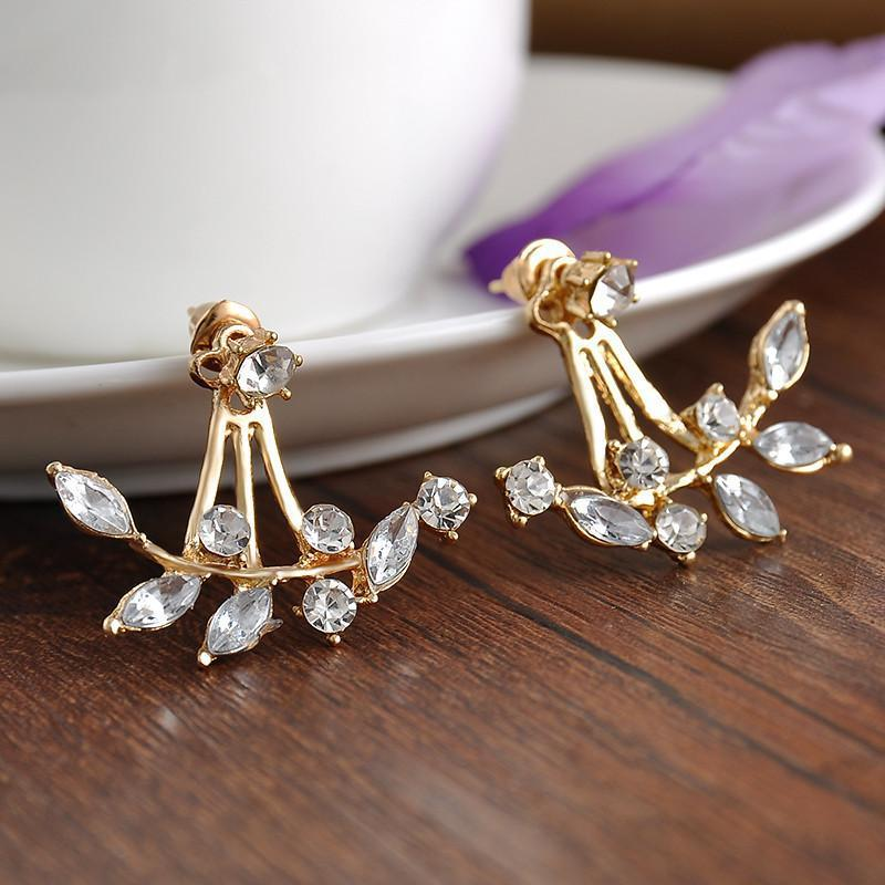 Hot Crystal Leaf Gold Plated Back Cuff Stud Earrings for Women Jewelry-EARRINGS-SheSimplyShops