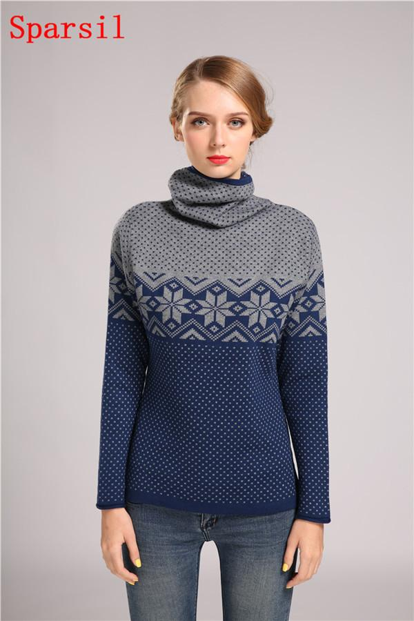 Women Wool Cashmere Thick Sweater Christmas Winter Female Turtleneck Printed Knitted Pullovers All Match Slim Sweaters-SWEATERS + CARDIGANS-SheSimplyShops