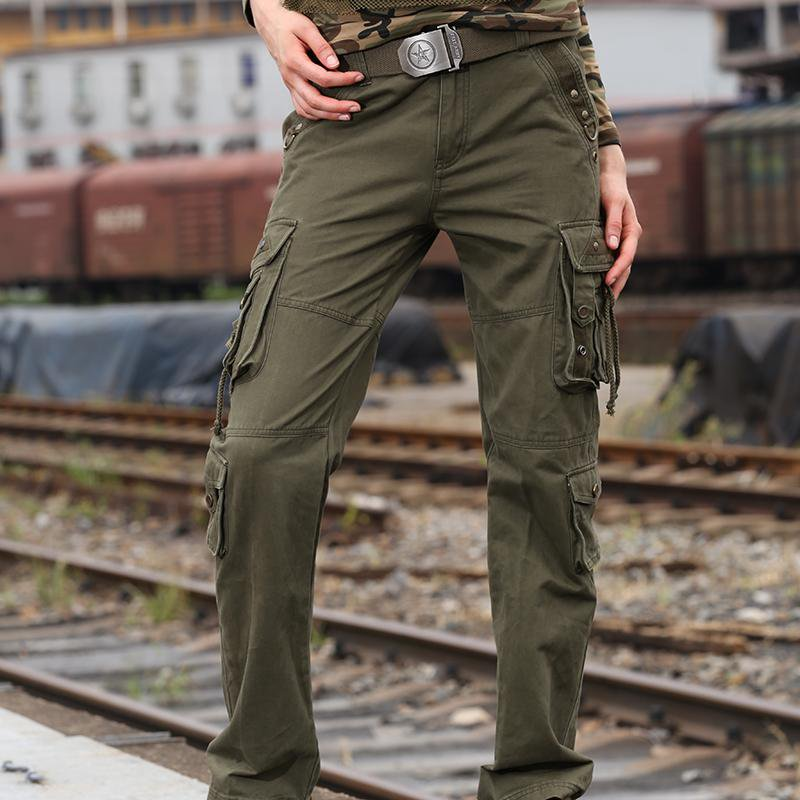 Women Pants Cotton Mid Waist New Autumn Full Length Casual Straight Pants-PANTS-SheSimplyShops
