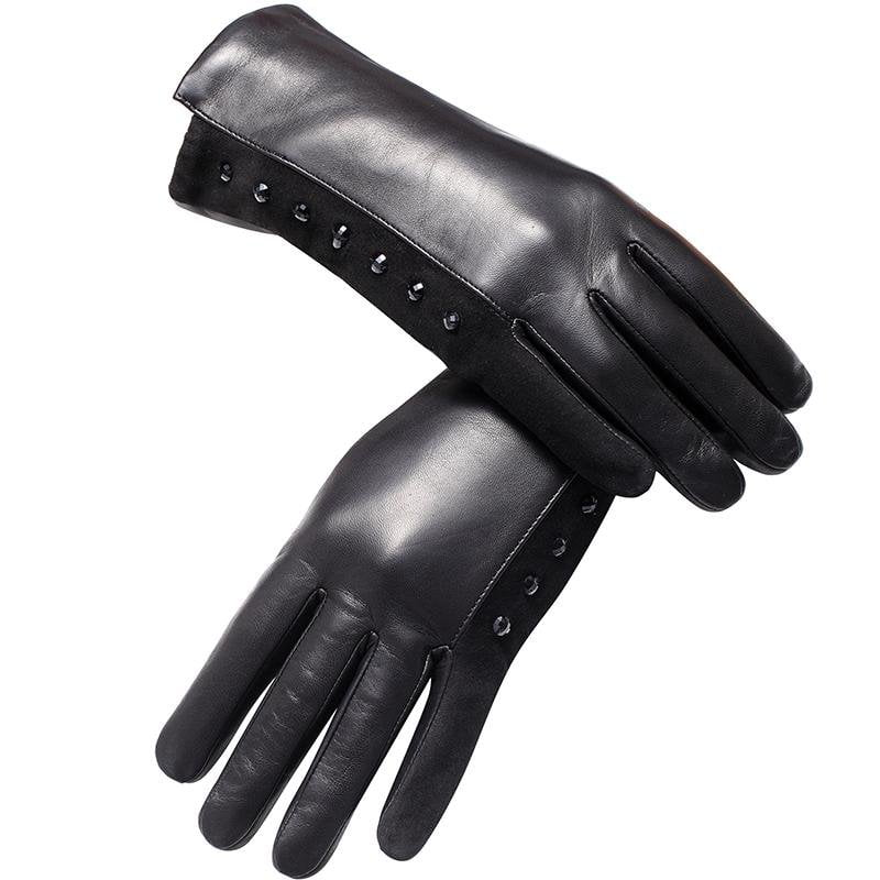 Genuine Leather glove Top Grade gloves female Fashion leather gloves Vintage winter gloves-Tops-SheSimplyShops
