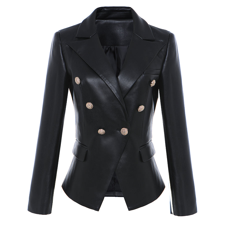 HIGH STREET Newest Baroque Fashion 2019 Designer Blazer Jacket Women's Lion Metal Buttons Faux Leather Blazer Outer Coat