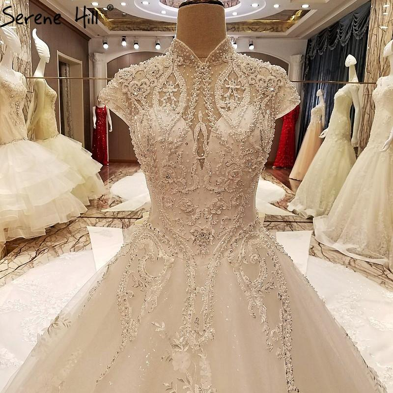 Luxury Crystal Pearls Tulle Wedding Dresses White High Collar Bride Gown-Dress-SheSimplyShops