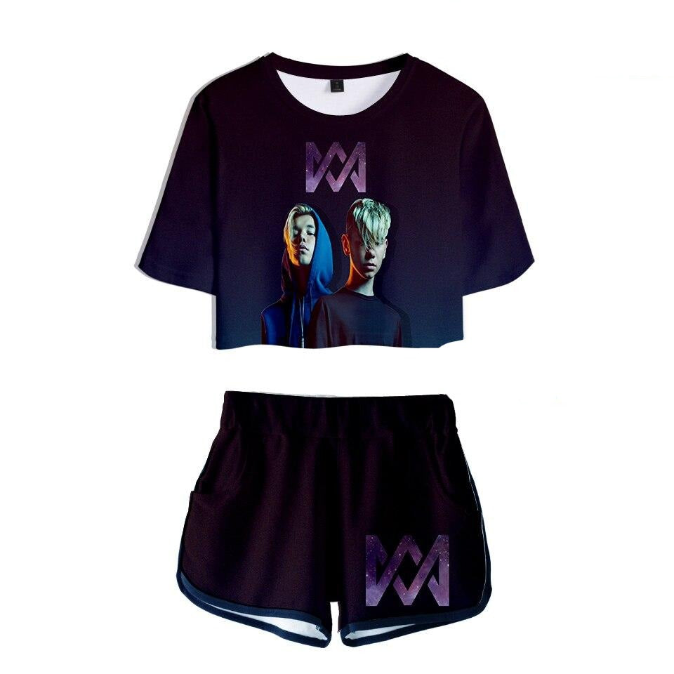 3D Marcus and martinus Leisure Women Sets Soft Round Collar T-shirt and Short Pants Kpop Clothes