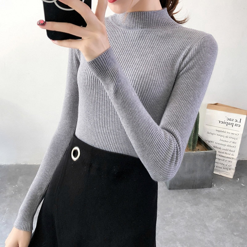 Autumn Winter Women Pullovers Sweater Knitted Korean Elasticity Casual Jumper Slim Turtleneck Warm Female Sweaters