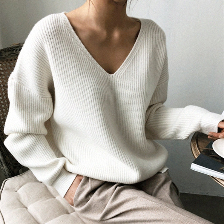 Colorfaith Autumn Winter Women's Sweaters V-Neck Minimalist Tops able Irregular Hem Knitting Casual Solid SW8112