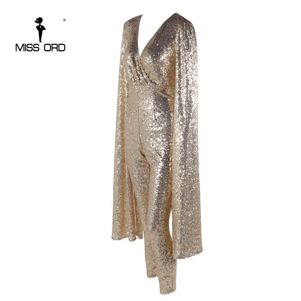 Sexy deep v Angel wings gold color sequin Jumpsuits-ROMPERS & JUMPSUITS-SheSimplyShops