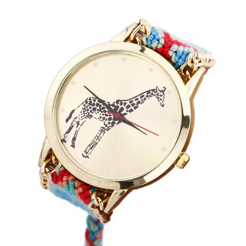 Dropshipping Women Weaved Rope Band Bracelet Watches Fashion Casual Giraffe Wrist Watches Relojes Mujer Relogio Feminino #D