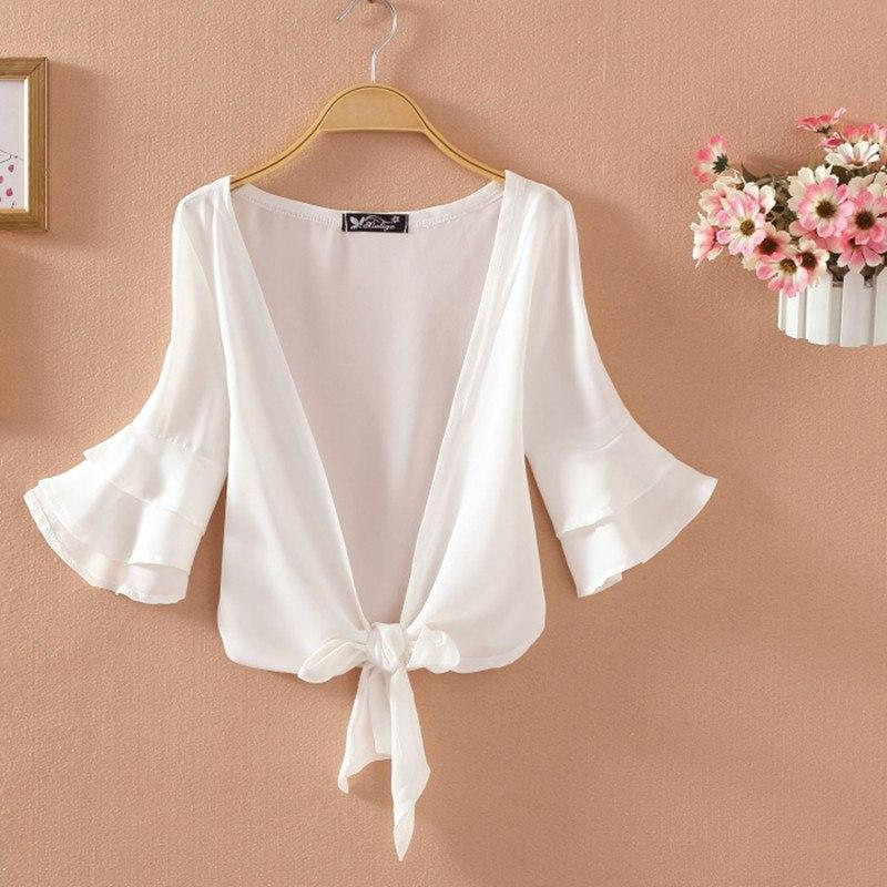 Lady Short Sleeve Lace Shrug Bolero Cape Capelet Jacket White Open Cardigan Tops Bathing Suit Beach Cover QDD9061