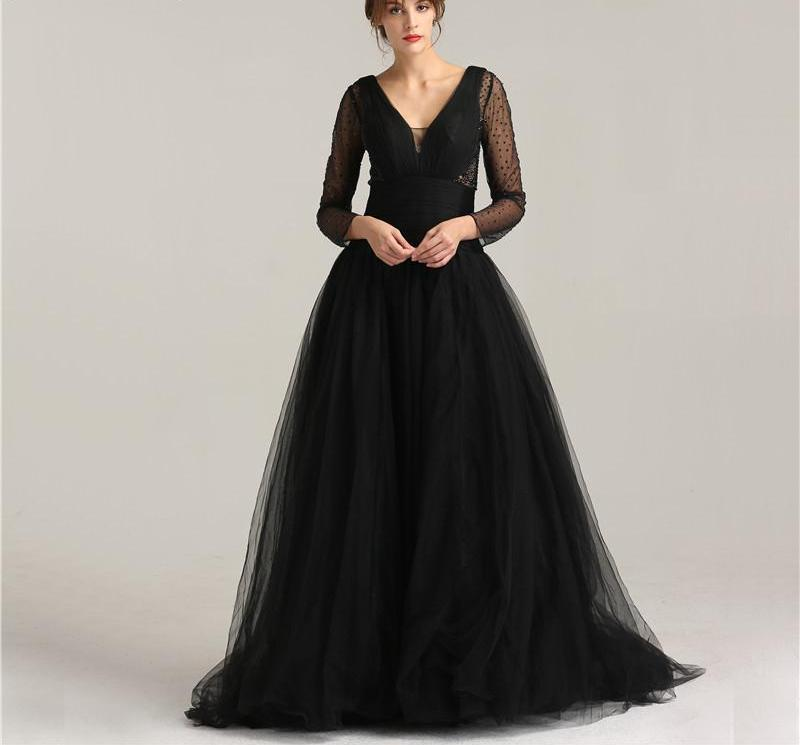 Black V-Neck Tulle Sexy Prom Dresses New Long Sleeves Crystal Pleat A-Line Evening Party Gowns-Dress-SheSimplyShops