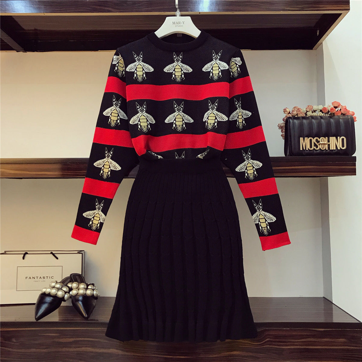 ALPHALMODA Bees Hit Striped Colored Women Knitted Sweater Skirt Suits OL Autumn Winter Vintage Clothing Sets