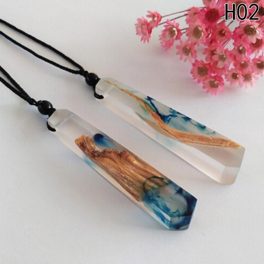 1pc Handmade Resin Wood Necklace Women Men Long Rope Sweater Chain Necklace Wooden Necklace Pendants Jewelry-NECKLACES-SheSimplyShops