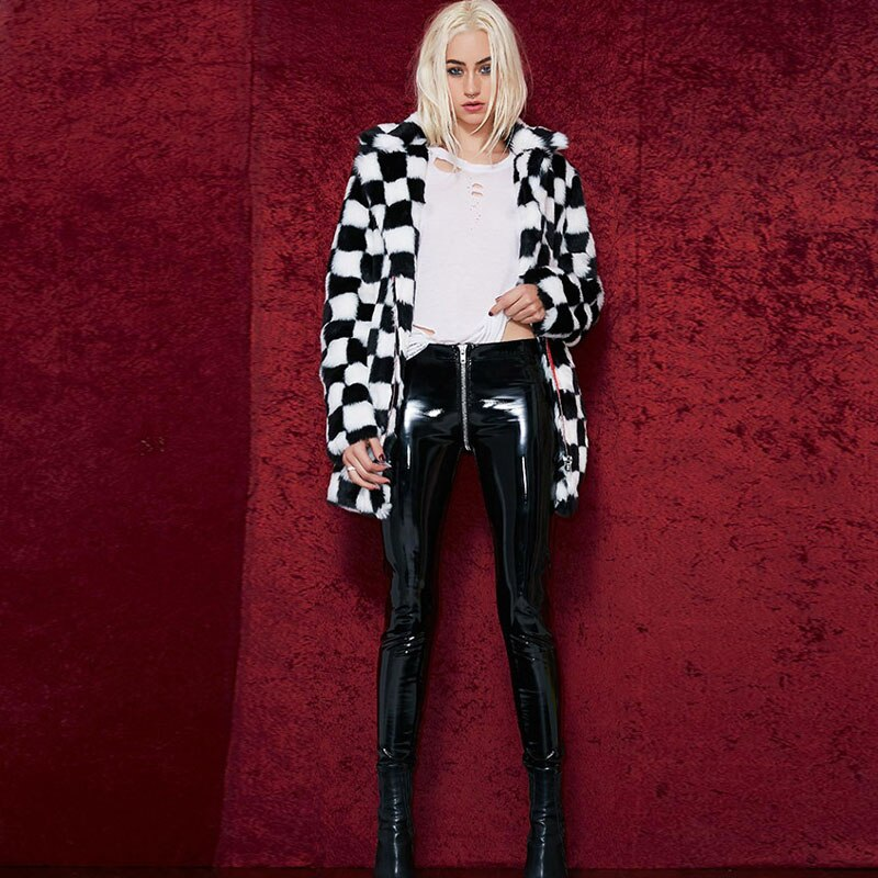 NORMOV Women Sexy Shiny PU leather Leggings with Back Zipper Push Up Faux Leather Pants Latex Rubber Pants Jeggings Black Red