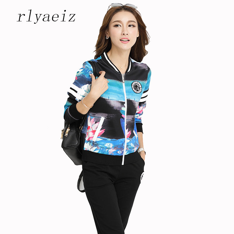 RLYAEIZ Fashion 2 Piece Set 2017 Autumn Tracksuit Women Casual Sporting Suits Printed Zipper Hoodies + Pants Female Sportswear