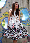 Ladies Casual Dresses New Summer Women's White Round Neck Sleeveless V Back Butterfly Print A Line Dress-Dress-SheSimplyShops