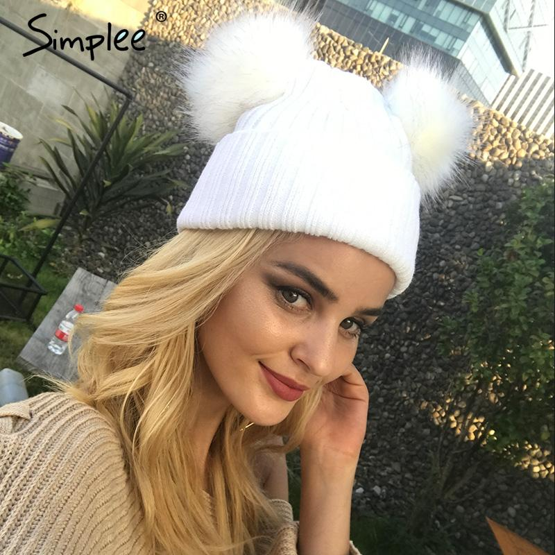 Winter fur pompom knitted hat cap Women elegant autumn white beanies Casual street wear warm female black cap-BEANIES-SheSimplyShops
