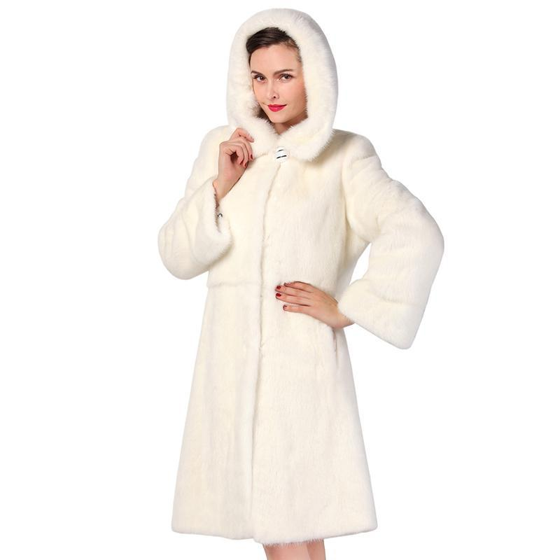 Fashion Slim Fur white long mink fur coat, warm winter new mink fur coat,mink leather coat-Coats & Jackets-SheSimplyShops
