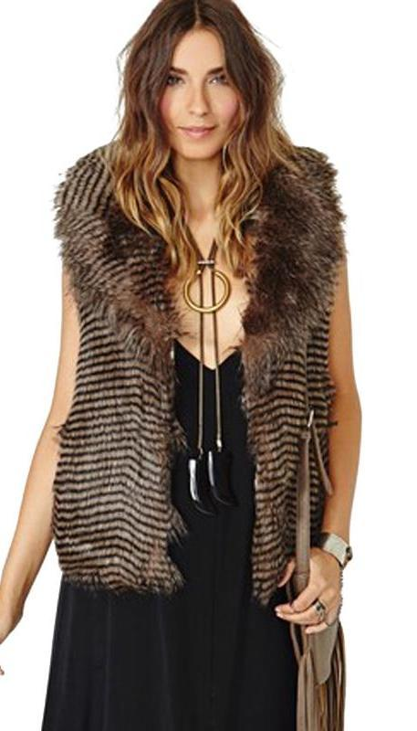 Brown Vests Sleeveless Turn-down Collar Female Outwear Loose Casual Wavy Striped Faux Fur Coat-Bottoms-SheSimplyShops