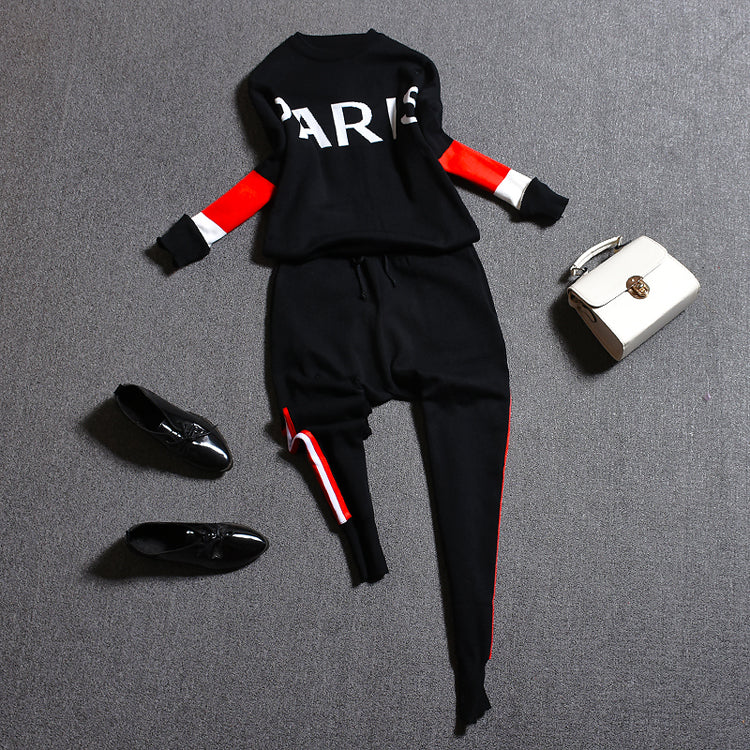 Oshangchaopin Women O-Neck Striped Letter Contrast Color Fashion Casual Knitting Sweater+Haroun Pants Tracksuits Clothing Suit