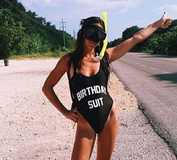 BIRTHDAY SUIT Funny Letter Print Swimsuit Jumpsuits Rompers Swimwear Women's Sexy Bodysuit Bathing Suit High Cut  suits