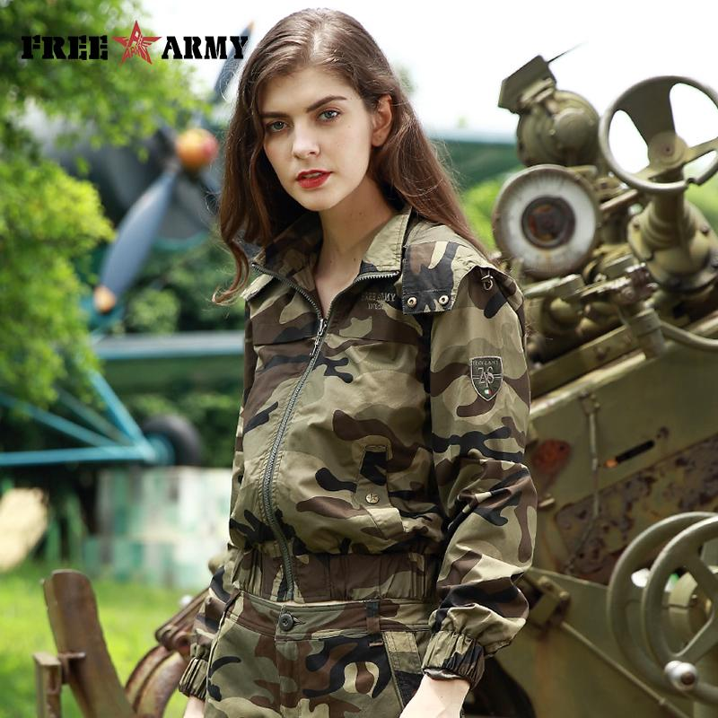 Women's Fashion Jacket Autumn Camouflage Coats Hoodie Ladies Jacket With Zipper Outerwear Women-Coats & Jackets-SheSimplyShops