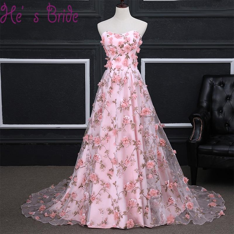 Cheap Long Evening Dress Luxury Bride Pink Sweep Train Banquet Lace Appliqued Flowers Party Prom Dresses Robe De Soiree Custom