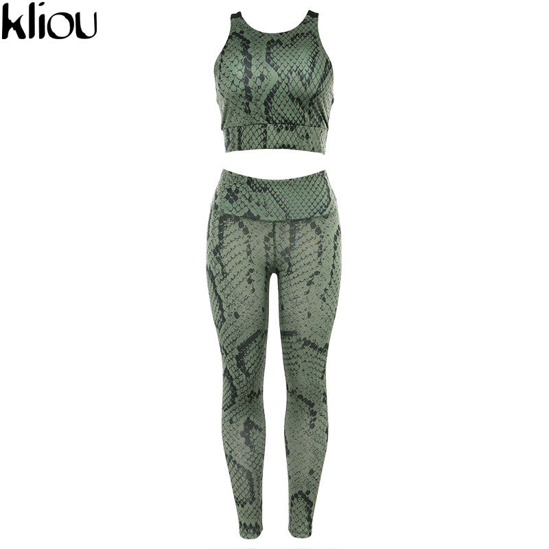 Kliou women Snake Skin Print 2 pieces sets back hollow out Active Wear top bra fitness leggings elastic waist tracksuits