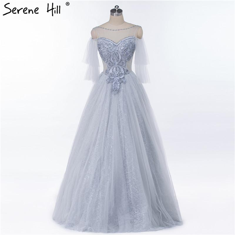 Grey New Fashion Sexy A-Line Evening Gwon Sleeveless Beading Formal Evening Dress-Dress-SheSimplyShops