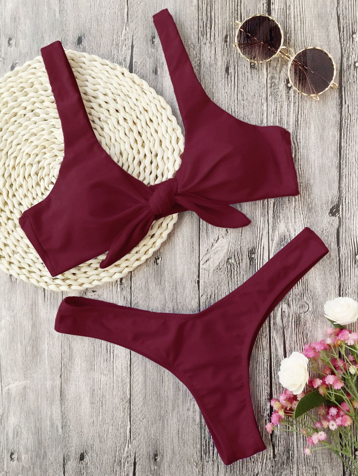 Swimsuit New Arrival Women Knotted Padded Thong Bikini Mid Waisted Solid Color Scoop Neck Bikini Beach Swimwear-Bottoms-SheSimplyShops