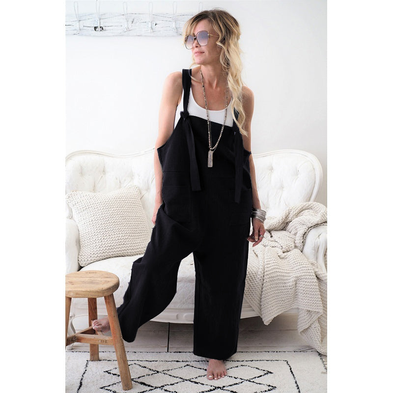 Summer Jumpsuit Cotton Linen High Quality Jumpsuit Loose Womens Jumpsuits Rompers Casual Overalls Strap Solid One Piece Romper