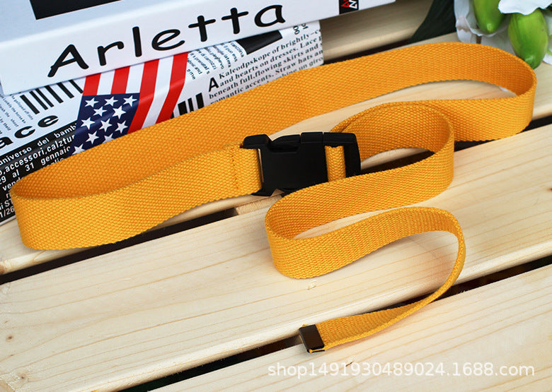 Candy Colors belt Unisex Plain Webbing Waistband Casual Canvas Belt Metal Buckle Men Women Boys Jeans Belts