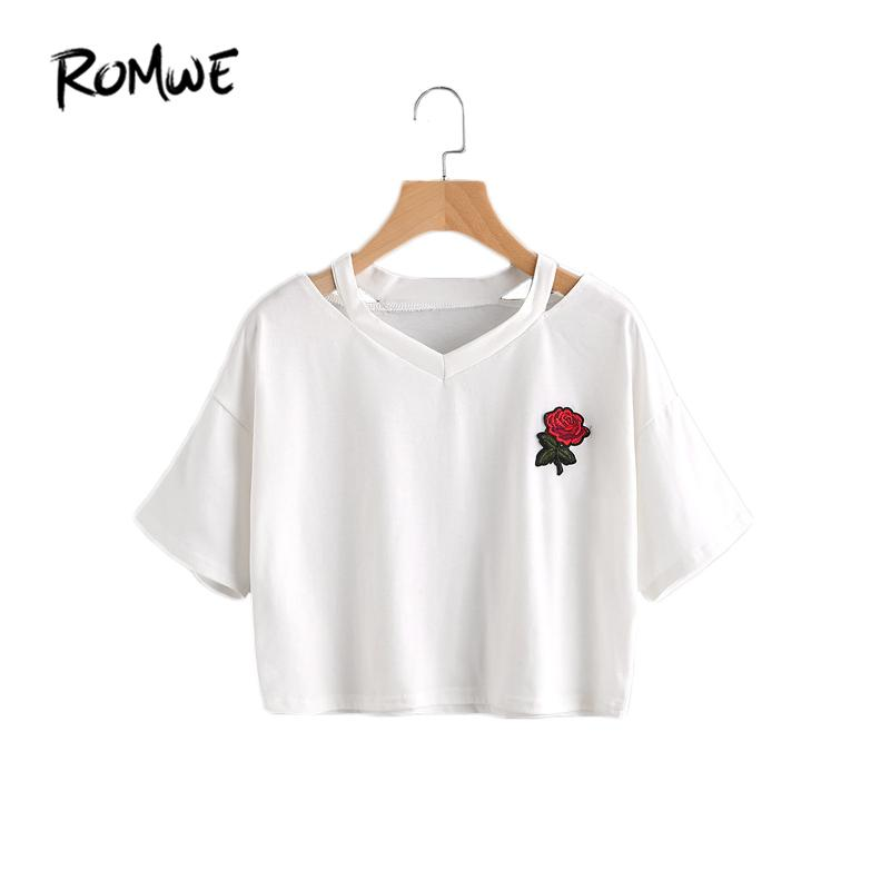 Women Summer T Shirts Cut Out Neck Rose Embroidered Patch Tee White V Neck Short Sleeve Summer Tops-SHIRTS-SheSimplyShops