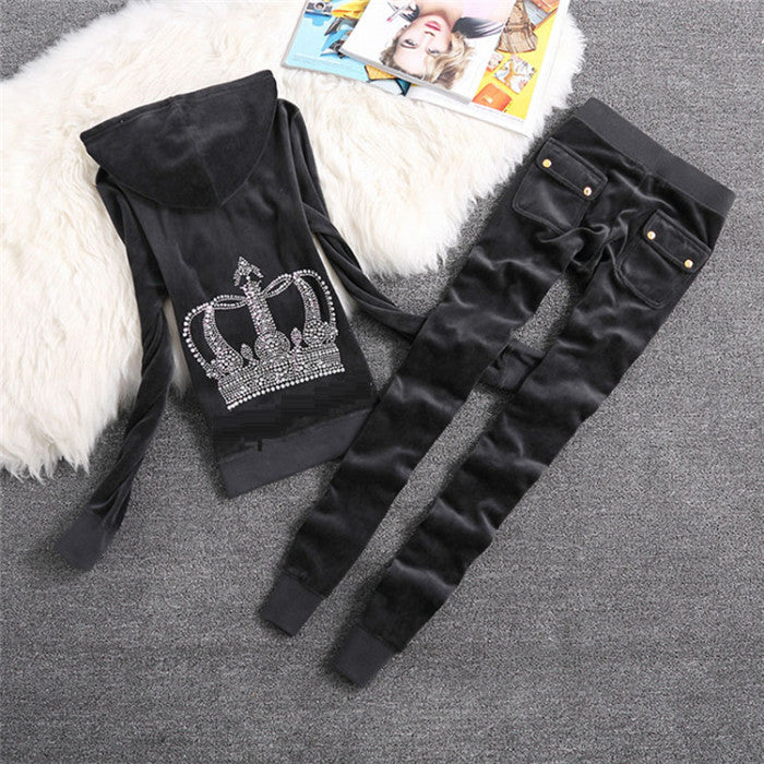 Sweatsuit Velvet Fabric Tracksuits Velour Outfits Hoodies Tops and Sweat Pants Set S- XL