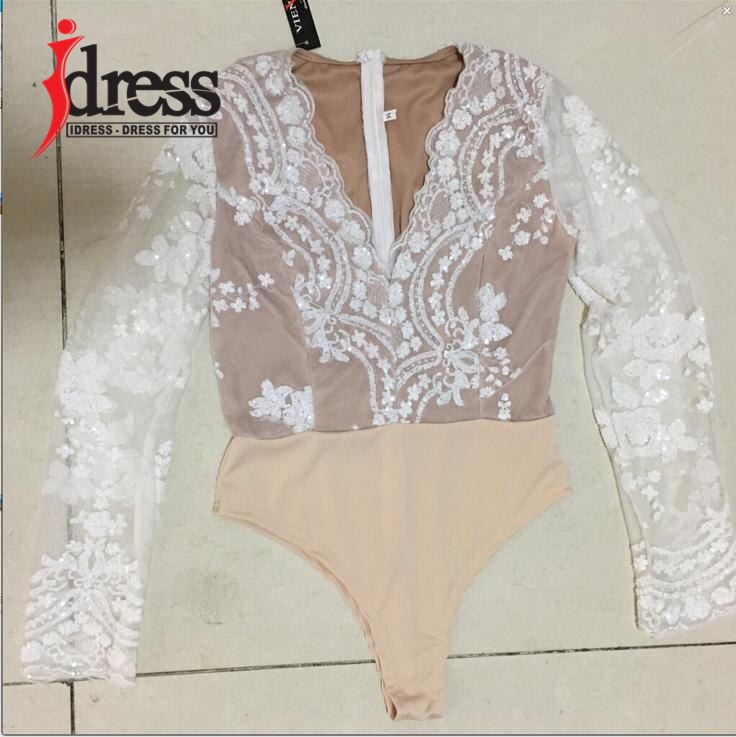 IDress XS-L Women Bodysuit Macacao Curto V Neck Mesh Sequined Rompers Womens Jumpsuit Long Sleeve Sequin Bodysuit