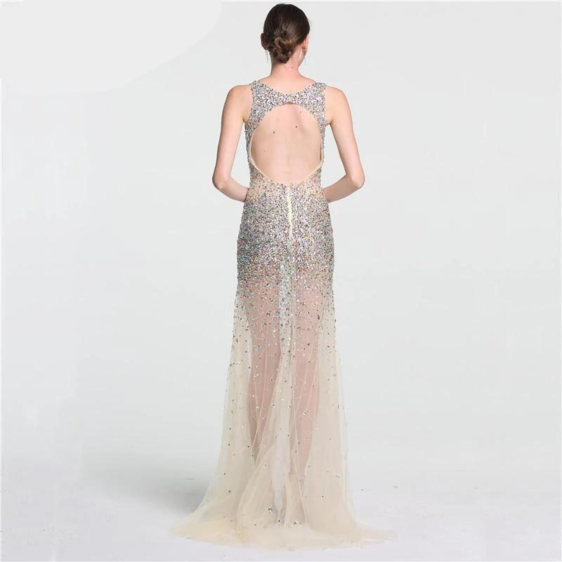 Sexy Perspective Tulle Evening Dresses Long Diamond Sequined Evening Gowns-Dress-SheSimplyShops