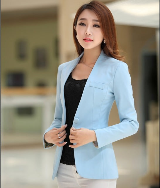 fashion Autumn ladies cardigan and jacket candy color coat long sleeves Slim suit single button female jacket large suit jacket