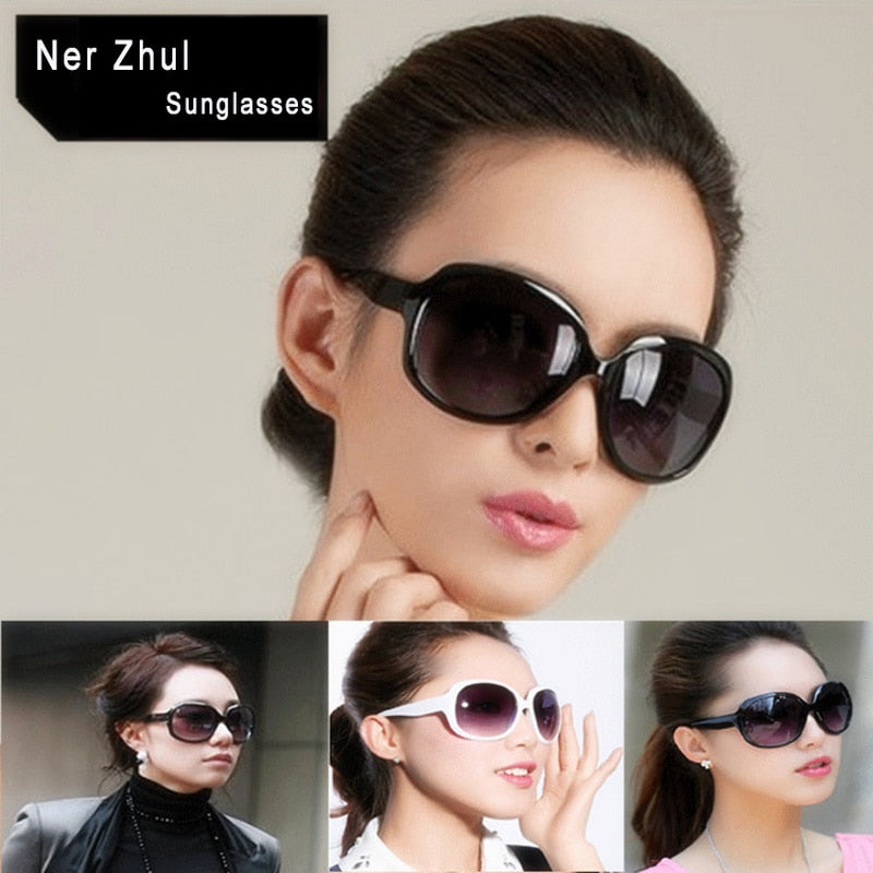 Popular Fashion Oversized Women Sunglasses Vintage White Large Oval Female Sunglasses Big Brown Ladies Sunglasses