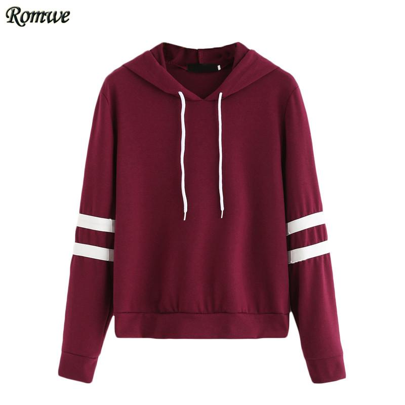 Women Hoodie For Autumn Ladies Burgundy Long Sleeve Varsity Striped Drawstring Hooded Pullover Sweatshirt-Bottoms-SheSimplyShops