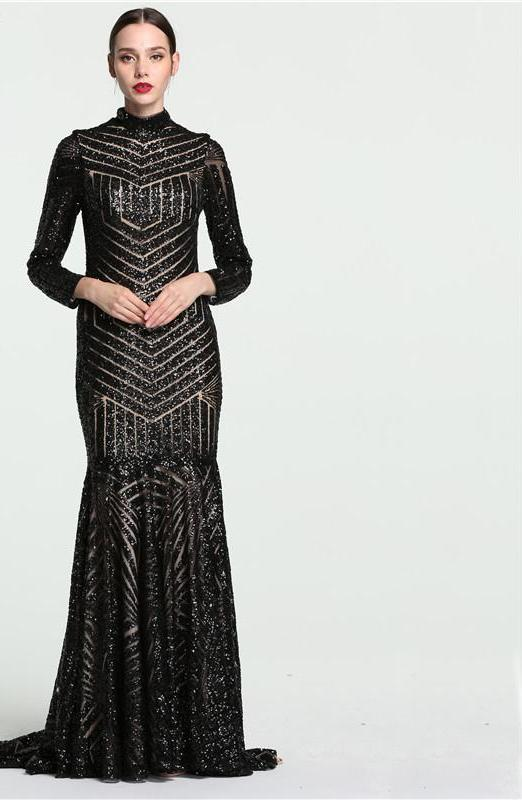 Black Mermaid High Neck Luxury Evening Dresses Long Sleeves Evening Gowns-Dress-SheSimplyShops