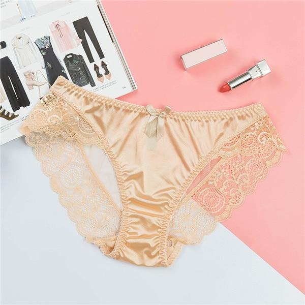 KAGIO Satin Lace Panties Women's Underwear Transparent Sheer Lace Briefs Tangas Knickers Soft Shiny Satin Panty