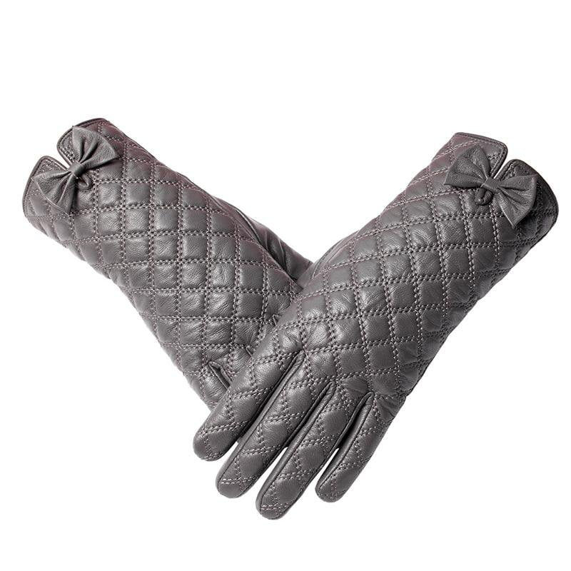 Light Gray Leather Women Gloves Floral,Genuine Leather Gray Chequered Leather Gloves Leather Gloves For Women Female Gloves-GLOVES-SheSimplyShops