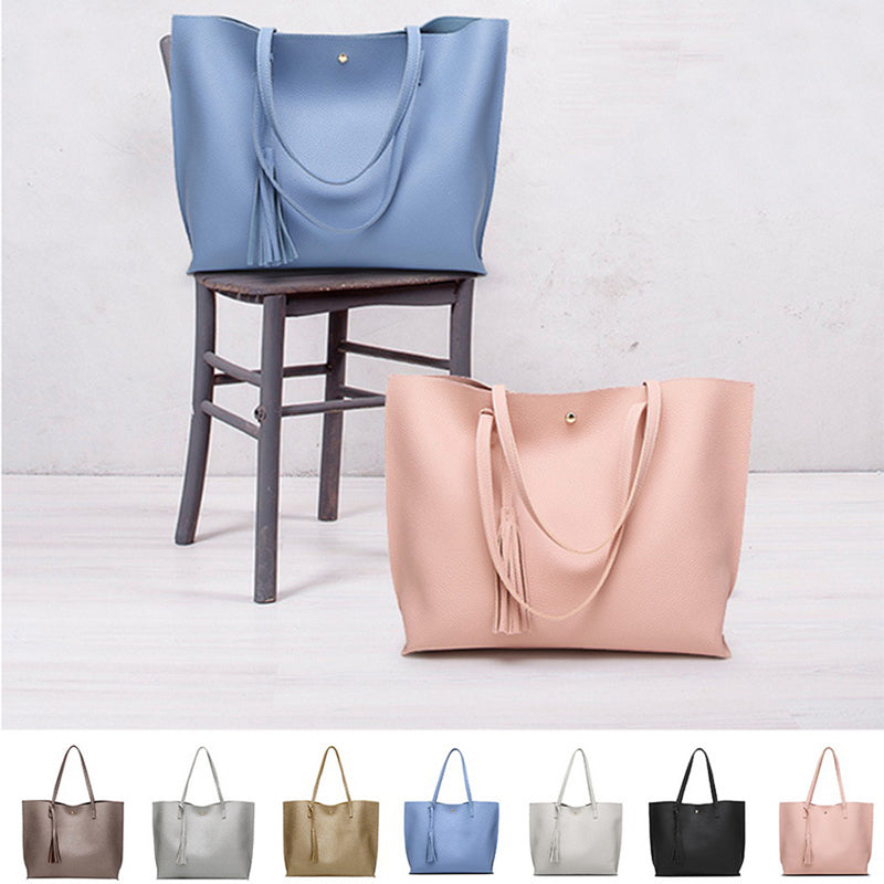Puimentiua Women Messenger Bags Leather Casual Tassel Handbags Female Designer Bag Vintage Big Size Tote Shoulder Bag Quality
