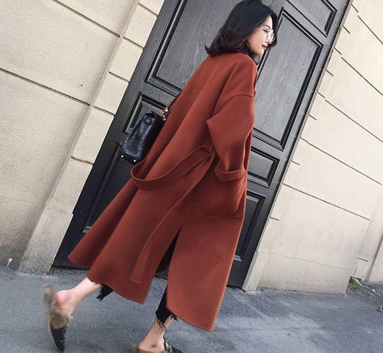 New 2018 Women Woolen Coat Thicken Long Sleeve Medium-long Turn-down Collar Open Front Parka Belt Coat