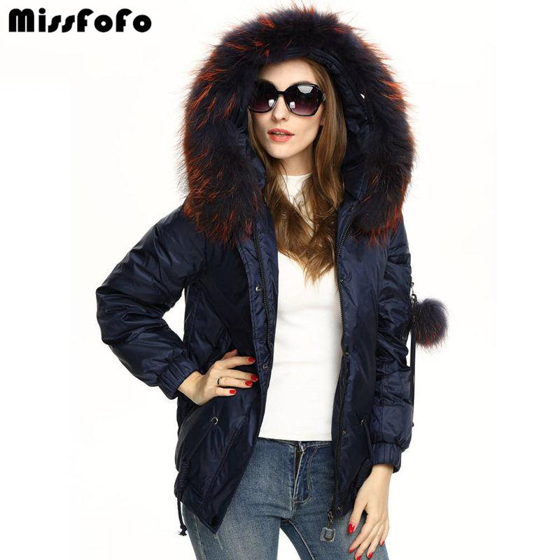 MissFoFo Brand 2016 New Women Down Jackets CLJ Fashion Real Raccoon Dog Fur Hood Down Coat 2XL Color Short Parka 90% White Duck-Coats & Jackets-SheSimplyShops